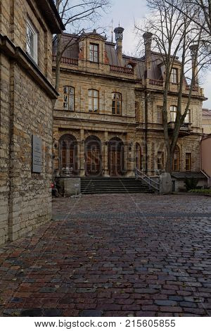 TALLINN, ESTONIA - NOVEMBER 4, 2017: Building of Estonian Academy of Sciences in the former palace of Ungern-Sternberg. The building was erected in 1865 by design of Martin Gropius