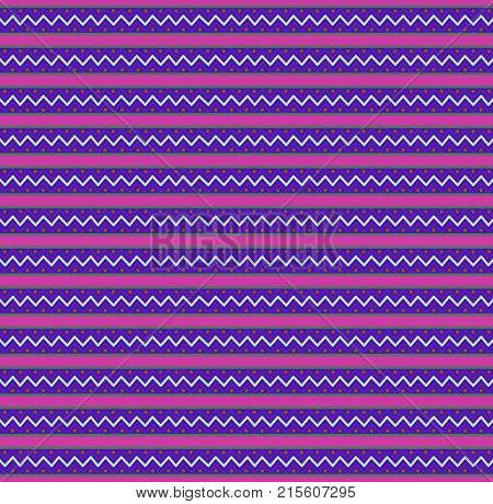 Cute  Seamless Festive Template With Pink, Blue And Violet Zig Zag Striped Pattern