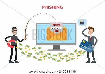 Phishing concept illustration. Thief stealing money and password from businessman.