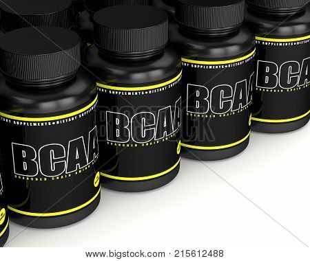 3D Render Of Bcaa Bottles With Pills In Row