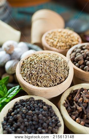 Variety Of Different Spices With Focus On Ancient Famous Spice – Dried Whole Cumin Seeds With Variet