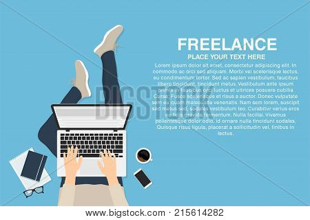 Freelancer working at home with laptop top view. Concept of remote working or working at home. Outsourced employee developer or web designer. Vector