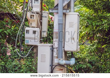 Electric Meters On The Pillar In Asia
