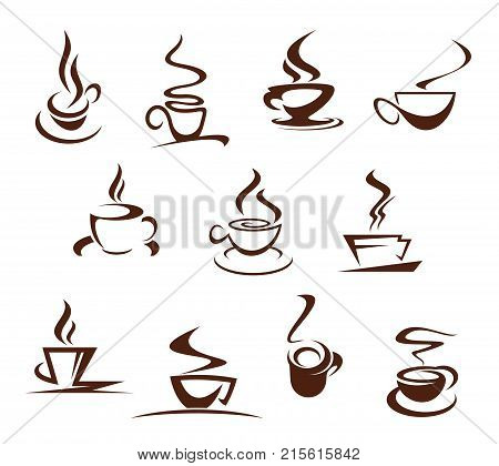 Coffee cups icons for coffeehouse, cafeteria or coffeeshop cafe sign design. Hot steamy chocolate mug, strong espresso or latte macchiato and americano outline of hot steam drink. Vector isolated set