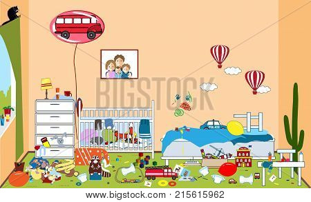 Kids untidy and messy room. Child scattered toys and clothing. Room where two little boys live. Mess in the house. Funny vector illustration