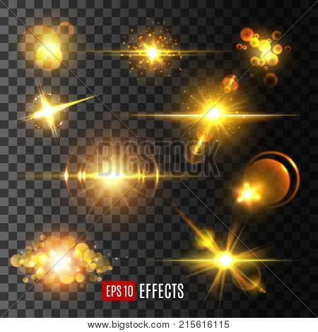 Golden star light flashes and sparkles on transparent background. Vector isolated icons set of sun light beam and starlight with lens flare effect, glittering comet trail and twinkling glitter light