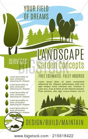 Green landscape design and gardening concept company poster template. Vector green nature trees and park gardens or woodland plantations for horticulture building and maintaining service