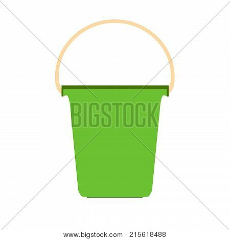 Bucket plastic white vector paint container isolated with handle. Pail packaging background blank tub empty lid putty illustration
