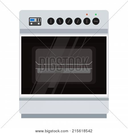 Oven stove vector icon illustration. Food cooking kitchen pizza isolated cooker. Microwave home electric symbol