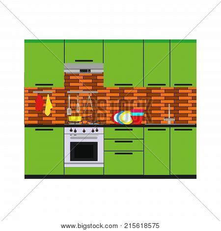 Kitchen interior vector room home illustration furniture flat apartment. Design modern table style living stove sink