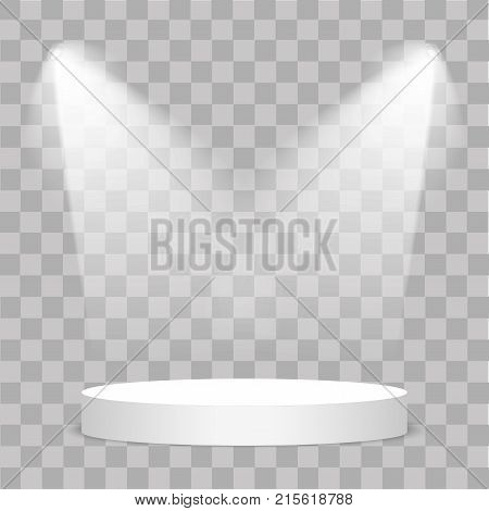 Round Stage Podium Illuminated With Light On Transparent Background. Stage Vector Backdrop. Festive