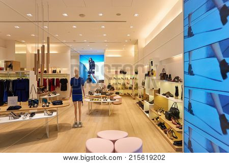 SINGAPORE - NOVEMBER 08, 2015: interior of Nine West store at The Shoppes at Marina Bay Sands. Nine West, also 9 West, is a fashion wholesale and retail company.