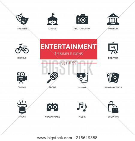 Entertainment - line design icons set. Theatre, photography, museum, circus, bicycle, painting, cinema, sport, diving, playing cards, tricks, video games, music, shopping