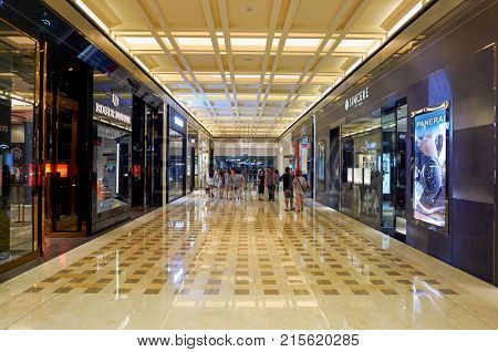 SINGAPORE - NOVEMBER 07, 2015: view of a hallway in The Shoppes at Marina Bay Sands.