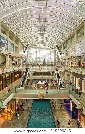 SINGAPORE - NOVEMBER 08, 2015: inside The Shoppes at Marina Bay Sands. The Shoppes at Marina Bay Sands is one of Singapore's largest luxury shopping malls