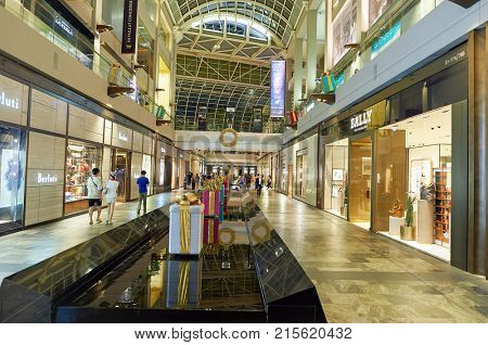 SINGAPORE - NOVEMBER 07, 2015: inside of The Shoppes at Marina Bay Sands.