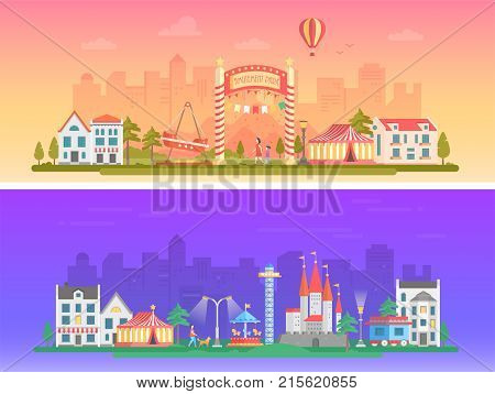 Day, night amusement park - set of modern flat vector illustrations on urban background. Two variants of funfair. Lovely cityscape with attractions, chapiteau, houses, people