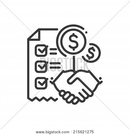 Contract - line design single isolated icon on white background. High quality metaphorical image, black pictogram with a handshake, dollar sign and a document. Real estate agency concept