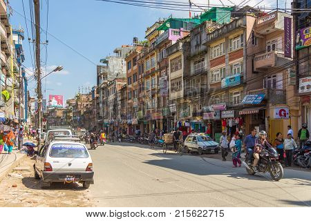 Crowded Street Of Kathmandu, The Capital Of Nepal.