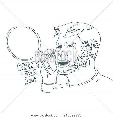 lineart minimalistic style illustration with man talking mobile phone