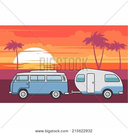 Retro van with camper trailer and evening sea beach