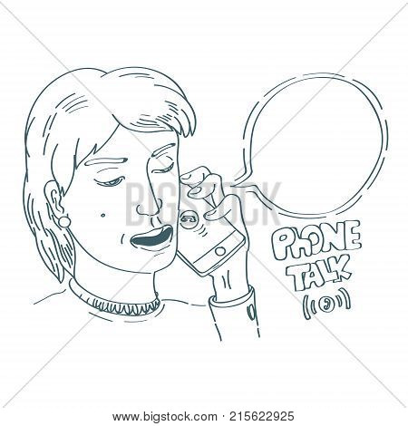 lineart minimalistic style illustration with woman talking mobile phone