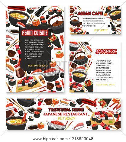 Japanese sushi and Asian cuisine poster and banner templates. Vector fish sushi rolls, ramen noodles soup or caviar maki, tuna and salmon sashimi or tempura shrimp and seaweed nori with chopsticks
