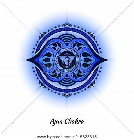 Ajna chakra symbol used in Hinduism, Buddhism, Ayurveda. The root chakra design for yoga studios, posters, banners, v-cads