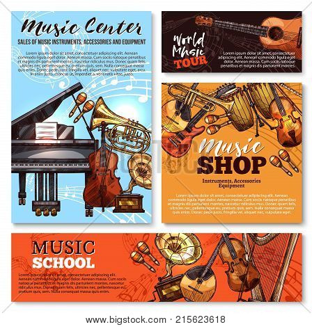 Musical instruments shop sale sketch posters and banners templates. Vector design of music piano, guitar and orchestra harp, trombone and drums or gramophone, flute and fiddle violin and maracas