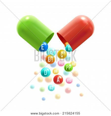 Vitamin complex of pill capsule and vitamins bubbles with names for dietary supplement and healthy lifestyle advertising design template. Vector A, B and ascorbic acid C and PP or vitamin D pills