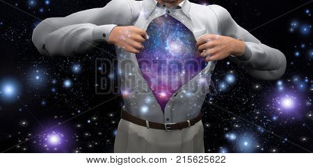Man opens shirt to reveal the galaxies. 3D rendering.