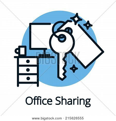 Office sharing concept, sharing economy icon black outline vector