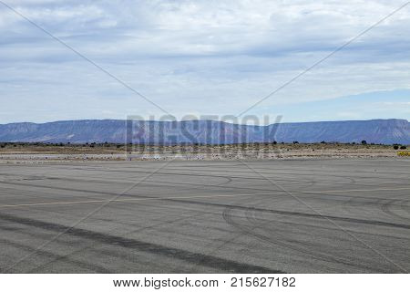 The Grand Canyon looms over the runway in Arizona
