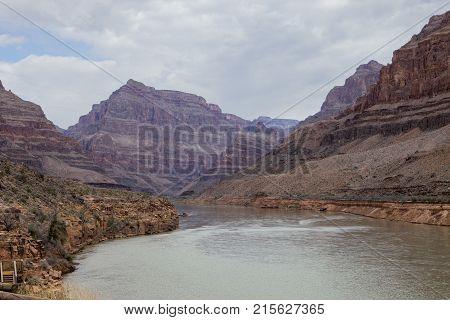 The Colorado River flows through the Grand Canyon