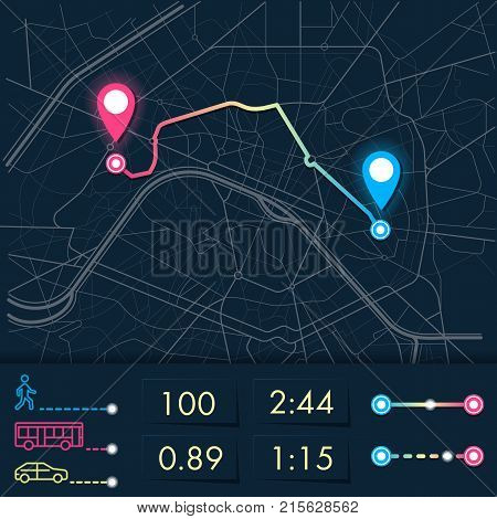 Dashboard theme creative infographic of city map navigation. The interface of the application Navigator, vector illustration