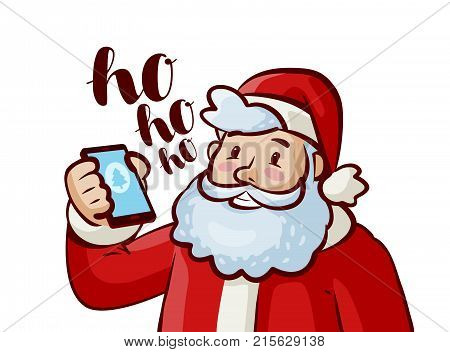 Happy Santa Claus with phone in hand. Christmas, xmas concept. Cartoon vector illustration isolated on white background