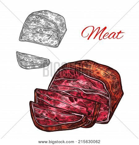 Fresh meat sketch icon of beef brisket steak or pork bacon lump and sliced filet. Vector smoked hamon sausage or tenderloin beefsteak for butcher shop gourmet or farm meaty products market