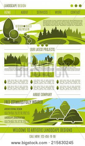Landscape design company landing page or web site template design. Vector green gardening or urban horticulture and garden planting association. Green parks and nature eco village or parkland trees