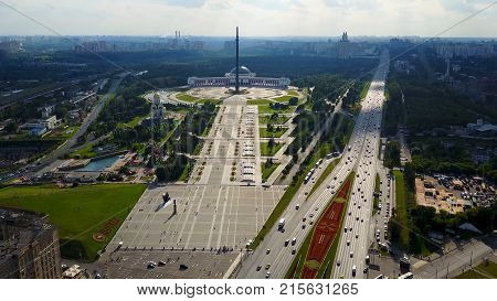 Aerial view on Poklonnaya Hill in Moscow, Russia. Poklonnaya Hill in Moscow, Russia. Statue of St. George and main building of museum of Great Patriotic War on Poklonnaya Hill, aerial view 4K