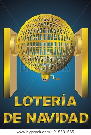 loteria de navidad. Circled golden lottery cage with numbers. National christmas lottery. vector illustration