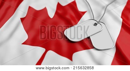 Canada army concept Blank identification tags on waiving Canada flag background. 3d illustration
