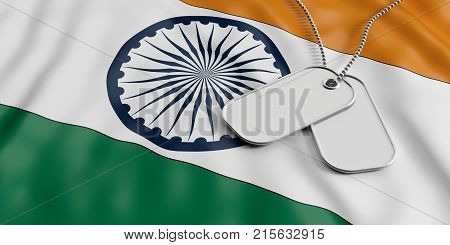 India Army Concept, Identification Tags On India Flag Background. 3D Illustration
