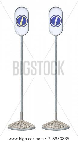 Information sign outdoor vertical metal blue white