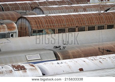 Train wagons railroad cars on railway rush vintage from above