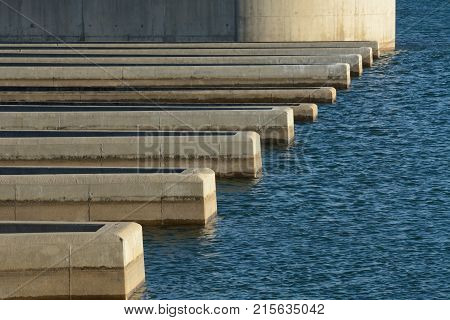 Close up of reservoir dam spillway at Lake Standley in Westminster Colorado