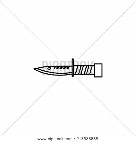 Millitary knife line icon on white background