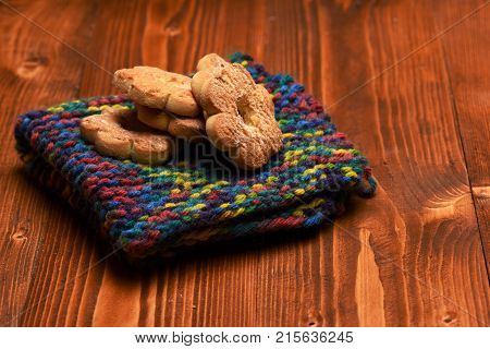 Tea Cookies On Wooden Background. Flower Shaped Biscuits
