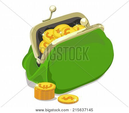 Vector icon representing an open green wallet, in which gold coins are sipping with the logos of world currencies against a white background.