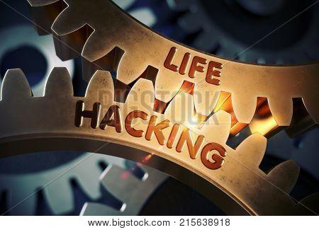 Life Hacking on Golden Metallic Cog Gears. Life Hacking on the Mechanism of Golden Gears with Glow Effect. 3D Rendering.