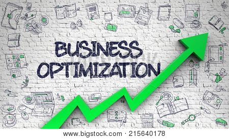 Business Optimization - Modern Style Illustration with Hand Drawn Elements. Brick Wall with Business Optimization Inscription and Green Arrow. Success Concept. 3D.